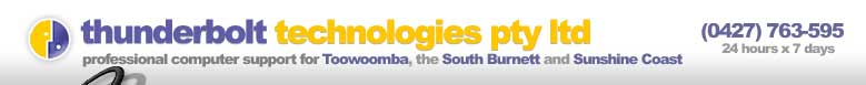 Thunderbolt Technologies Pty Ltd - professional computer support for Toowoomba, the South Burnett and the Sunshine Coast